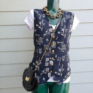 Rare Vintage Liz Claiborne Alphabet Vest Size 12